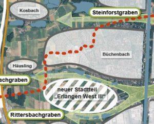 Karte mit der Lage des geplanten Entwicklungsgebiets: Südlich von Büchenbach und nördlich von Frauenaurach