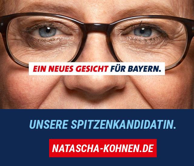 Ein neues Gesicht für Bayern: Unsere Spitzenkandidatin Natascha Kohnen. Link führt zur Homepage von Natascha Kohnen